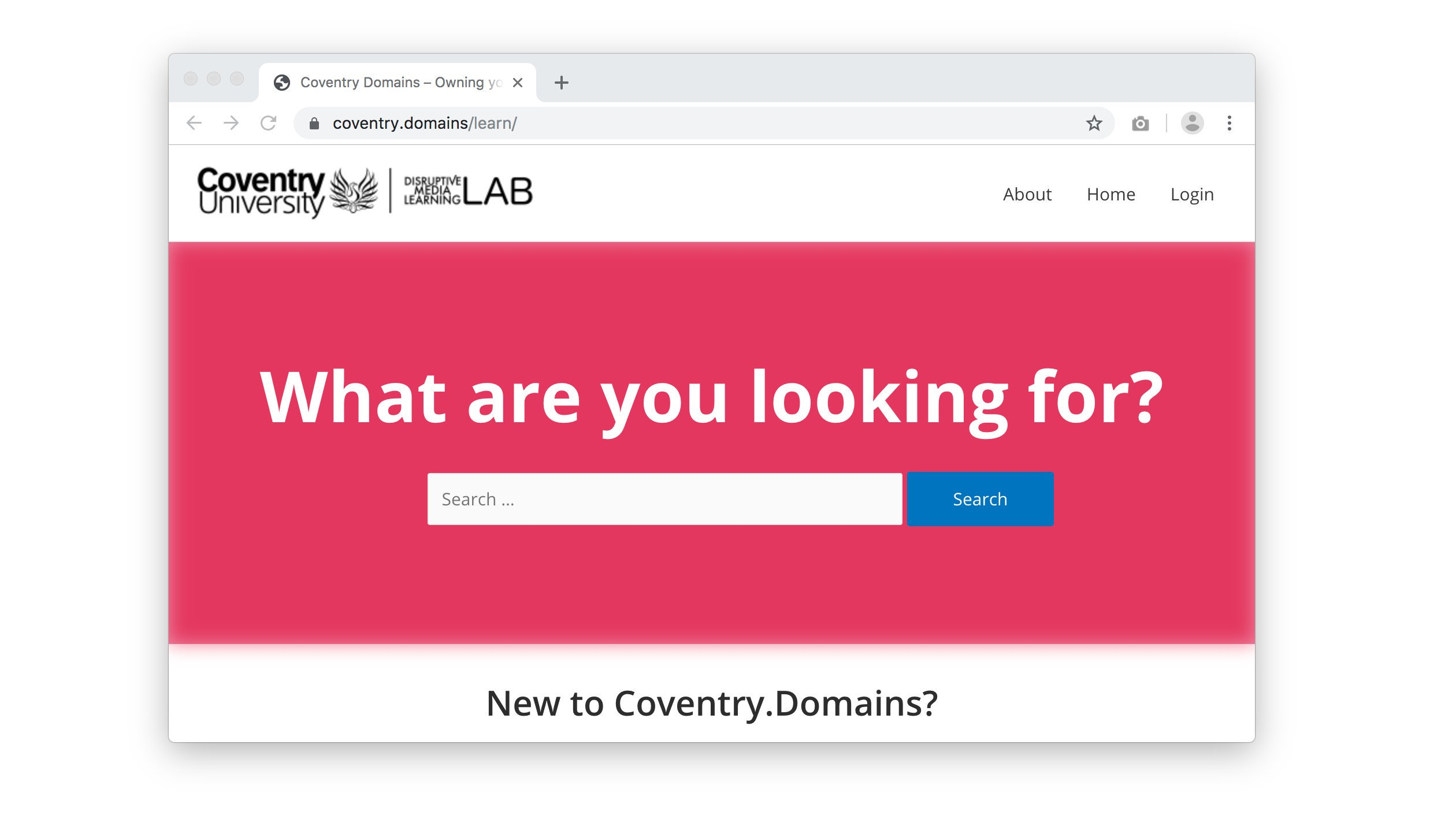 Screenshot of the new Coventry.Domains learning resources website which can be found at coventry.domains/learn