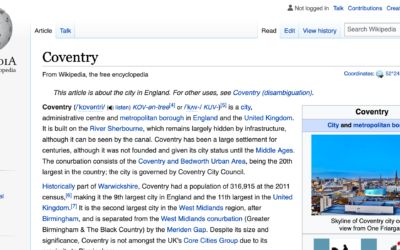 'Coventrypedia' – A series of public Wikipedia events for the City of Culture